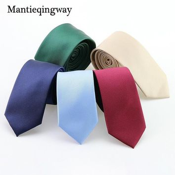 Mantieqingway Polyester Skinny Necktie Ties For Men Wedding Suit Slim Necktie Classic Solid Color Tie Casual Candy Color 6cm Tie