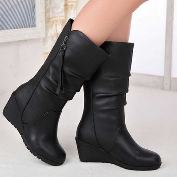 Women Autumn Winter Warm Shoes Ladies Wedges High Heel Ankle Boots Zipper Boots