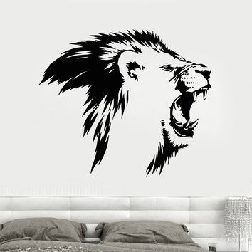Vinyl Wall Decal Lion King Head Roar Fangs Predator African Animal Stickers Unique Gift (1840ig)
