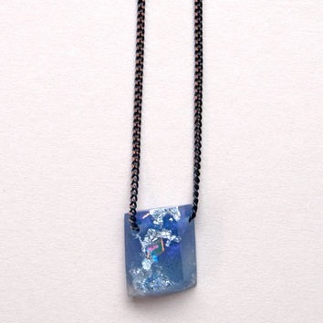 Mini Mountain Rock Pendant Necklace in Blue/Purple by Rosa Pietsch