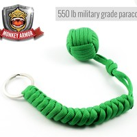Bright Green Monkey Fist Self Defense Keychain | 550lb Military Grade Tensile | Double Corded For Maximum Stability And Support | 1 Inch Steel Ball | Ultimate Survival Tool