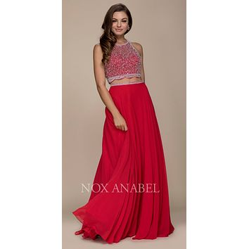 Red Two-Piece Long Prom Dress Illusion Beaded Crop Top