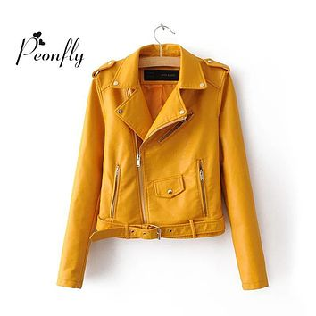 NEW  Autumn and winter 2016 Women Mustard Short Faux Leather Motorcycle Cropped Biker jackets Hem belted Zips details Epaulets