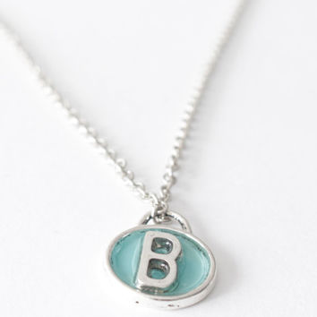 Silver initials pendant necklace, personalized, dainty necklace