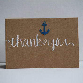 Set of 20 ~Anchor  Beach Wedding/Shower/Party Thank you Cards