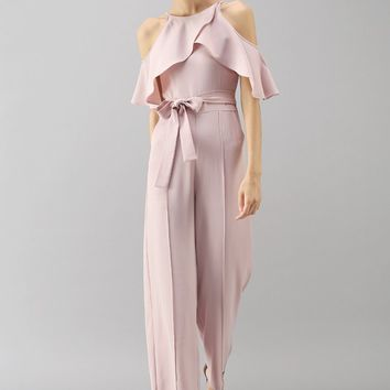 Sylphlike Pink Cold-Shoulder Jumpsuit