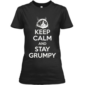 Grumpy Cat Keep Calm And Stay Grumpy Poster Graphic  Ladies Custom