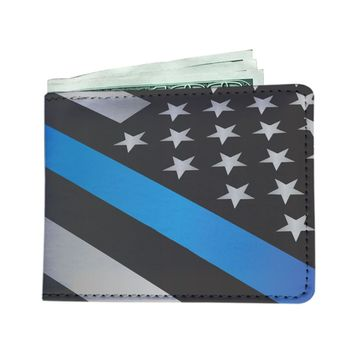 Thin Blue Line American Flag Police Print Custom Men's Leather Wallet