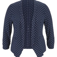 Plus Size - Blue Jasmine 3/4 Sleeve Dot Print Blazer - Blue