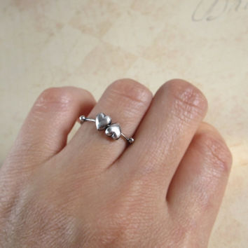 Double Heart Ring, 925 Sterling Silver, Rolling Hearts, Minimalist Ring, Lover Gift, Silver Hearts Ring