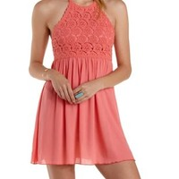 Pink Crochet Bib Halter Dress by Charlotte Russe