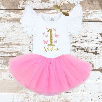 Custom Butterfly 1 Pink Tutu Outfit