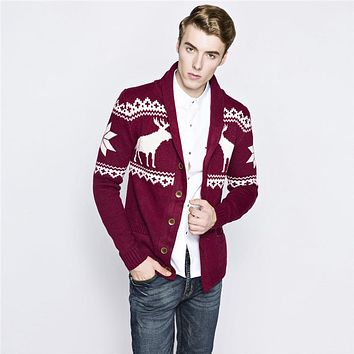 New Men Ugly Christmas Sweater Long Sleeve Knitted V-neck Cardigan Sweater Navy Blue Wine Deer Pattern Sweater