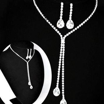 """V.YA"" Jewelry Crystal Rhinestone Necklace Earring Sets"