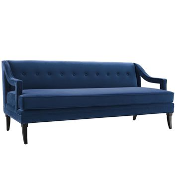 Concur Button Tufted Upholstered Velvet Sofa Navy EEI-2997-NAV