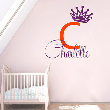 Monogram Wall Decals Crown Vinyl Sticker Personalized Name Decal Girl Princess Art Home Interior Design Kids Nursery Baby Room Decor KT163