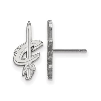 NBA Cleveland Cavs Rhodium Plated Silver Small Logo Post Earrings