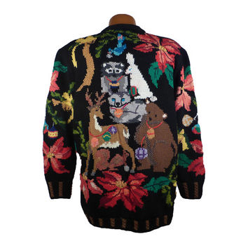 Ugly Christmas Sweater Vintage Cardigan Berek Holiday Party Tacky Women's size M