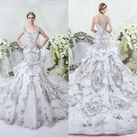 Dubai Saudi Arabic Luxury Heavy Beads Wedding Dresses 2015 New Crystal Beads Wedding Gowns Bridal Gowns Vestidos De Noiva  SA94