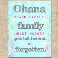 Printable Ohana Kids Nursery Wall  Quote Print by InkaDinkDesigns