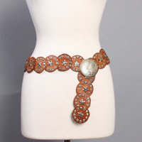 70s MOROCCAN Studded Leather BELT / Aged Silver Star Studs & Etched Buckle