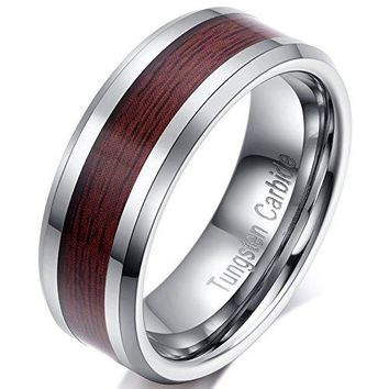 8mm Tungsten Carbide Wedding Ring Brown Wood Inlay Engagement Promise Band