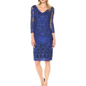 JS Collections - 865802 Illusion Sleeve Soutache Embroidered Dress