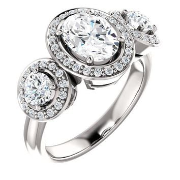 1.25 Ct Oval Three-stone Diamond Engagement Ring 14k White Gold