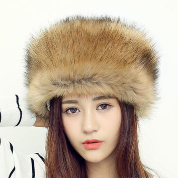 HT552 Women Men RACCOON Fur Cap Hats Fashion Warm Russian Fur Hats for Winter Luxury Female Russian Ushanka Hats Beanies for Men