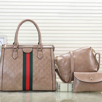 GUCCI Fashionable Women Shopping Bag Leather Handbag Tote Shoulder Bag Crossbody Purse Wallet Set Three Piece Apricot