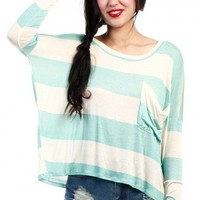 STRIPED LOOSE FIT TOP-BLUE