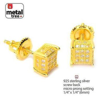 Jewelry Kay style Men's 925 Silver in 14k Gold Plated Pave 3D Cube Screw Back Stud Earrings 461 G