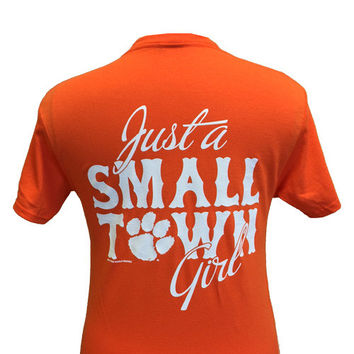 SALE South Carolina Clemson Tigers Small Town Girl Girlie Bright T Shirt