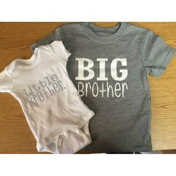 Baby Fashion Big Brother and Little Brother Letter Print Jumpsuit Tops Tshirt