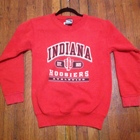 """Vintage IU Indiana University Hoosiers Fitted Sweatshirt Sweater """"Cracked Lettering"""" Adult XS or Youth Large"""