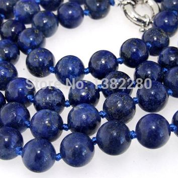 Fashion New  ! Style diy 10mm Round lapis chalcedony Beads Necklace 36  inches JT6206 dallas cowboys jersey