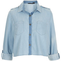 MOTO Crop Utility Denim Shirt - Tops - Clothing - Topshop USA