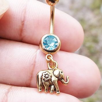 Sale.....Gold elephant 14 gauge stainless steel belly navel ring, body jewelry, 14g
