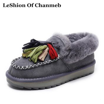 2018 New Women Winter Warm Shoes Fringe Flats Snow Boots Thick Sheep Wool Fur Ankle Boots Casual Woman Booties Colorful Tassel