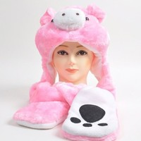 Plush Animal Winter Hats with Paws, Long Mittens - Many Different Animals, Pink Pig