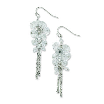 Silver-tone Clear Crystal Bead Cluster Drop Earrings BF711