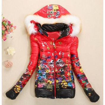 Stylish Long Sleeve Hooded Floral Print Coat For Women