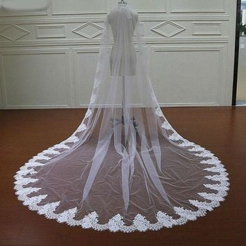 White Ivory Cathedral Wedding Veils Long Lace Edge Bridal Veil with Comb Wedding Accessories Bride Mantilla Wedding Veil