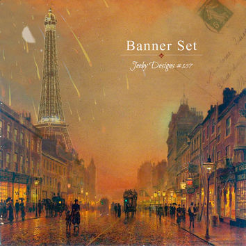 Etsy Shop Set - Evening in Paris - Banner Set - Eiffel Tower - Moon - Evening - Cover Photo - Gold - Vintage