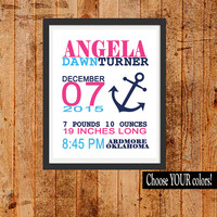 GIRL ANCHOR Birth Announcement Girl Nursery Decor, Modern Wall Art, CANVAS or Prints Baby Shower Gift