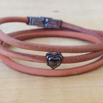 Leather Bracelet Triple Wrap Womens Jewelry Womens Bracelet Leather Jewelry Gift for Her Leather Wrap Bracelet Jewelry Handmade womens
