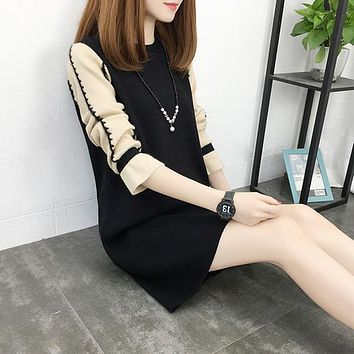 Women Fashion Autumn Winter New Knitted Dress Long Sleeve Loose Pullovers Mini Sweater Dresses