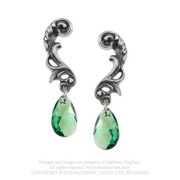 Alchemy Gothic Night Queen Green Teardrop Earrings