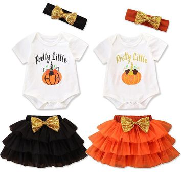 Baby Girls Cotton Pumpkin letter Print Halloween Cosplay Outfits Romper with Tutu Skirt Toddler pretty little Outfits 3pcs L154