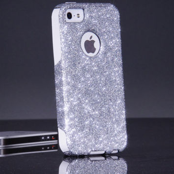 iPhone 5/5S Otterbox Custom Glitter Commuter Silver Sparkly Bling Otterbox Cute iPhone 5/5S Case